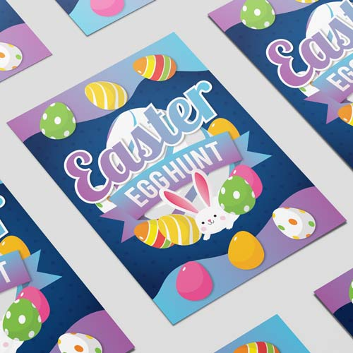 Easter Egg Hunt Colourful A3 Poster PVC Party Sign Decoration 42cm x 30cm Product Image