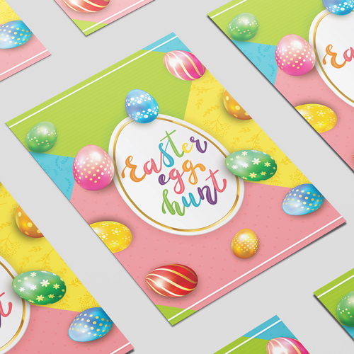 Easter Egg Hunt Glowing Colourful Eggs A2 Poster PVC Party Sign Decoration 59cm x 42cm Product Image