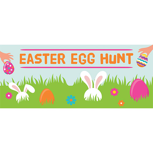 Easter Egg Hunt Grass PVC Party Sign Decoration 60cm x 25cm