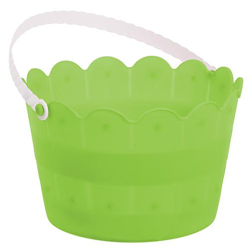 Easter Egg Hunt Green Scalloped Plastic Bucket 20cm Product Image