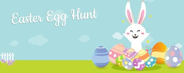 Easter Egg Hunt Happy Bunny Design Small Personalised Banner - 4ft x 2ft