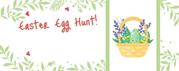 Easter Egg Hunt Hearts And Flowers Design Small Personalised Banner - 4ft x 2ft
