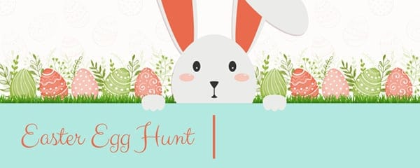 Easter Egg Hunt Hiding Bunny Design Small Personalised Banner - 4ft x 2ft
