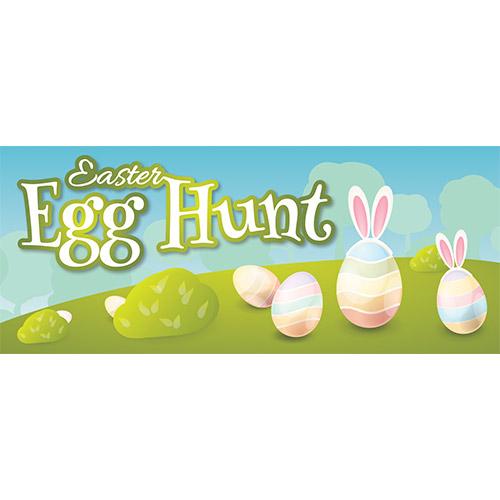 Easter Egg Hunt Hill PVC Party Sign Decoration 60cm x 25cm Product Image