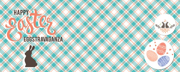 Easter Eggstravaganza Tartan Design Small Personalised Banner - 4ft x 2ft