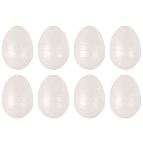 Easter Large Craft White Foam Eggs 6cm - Pack of 8 Product Image