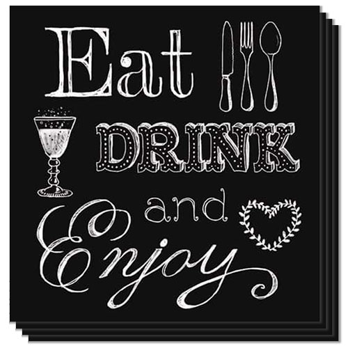 Eat Drink and Enjoy Luncheon Napkins 3 Ply - 33cm - Pack of 20 Product Image