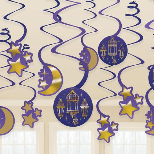 Eid Hanging Swirl Decorations - Pack of 12
