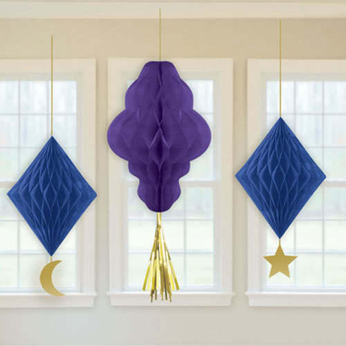 Eid Honeycomb Hanging Decorations - Pack of 3