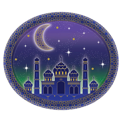 Eid Oval Serving Paper Platter 30cm - Pack of 8