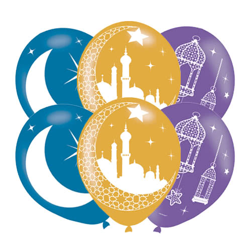 Eid Printed Latex Helium Balloons 27cm / 11Inch - Pack of 6 Product Image