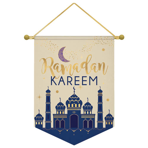 Eid Ramadan Kareem Foil Print Canvas Banner 36cm Product Image