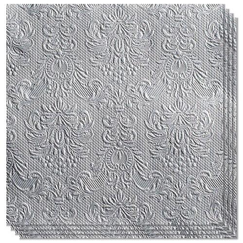 Elegance Metallic Silver Embossed Premium Luncheon Napkins 3Ply 33cm - Pack of 15