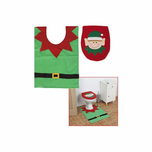 Elf Design Toilet Seat Cover And Mat Set