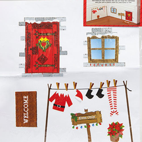 Elf House Stickers Set Christmas Wall Decoration