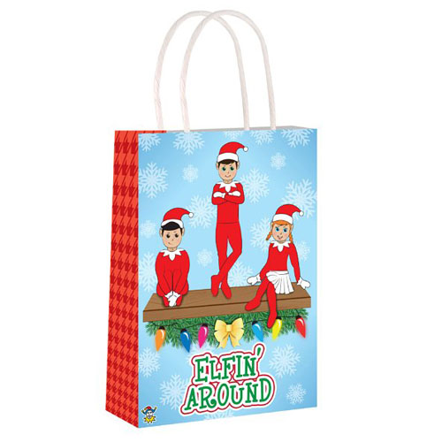 Elfin Around Christmas Paper Bag with Handles 21cm Product Image