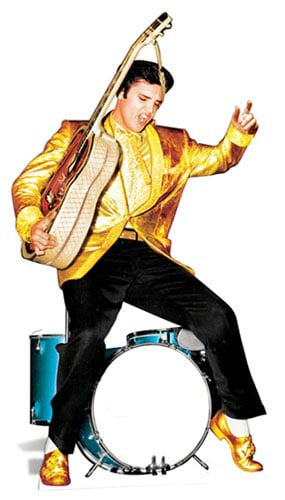 Elvis In Gold With Drums Lifesize Cardboard Cutout - 185 cm Product Image