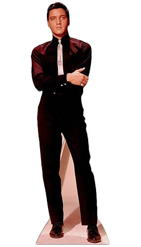Elvis Presley Black Shirt White Tie Lifesize Cardboard Cutout - 182cm Product Image