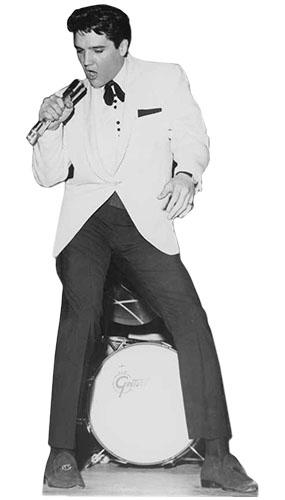 Elvis Presley White Jacket and Drum Lifesize Cardboard Cutout - 177cm Product Image