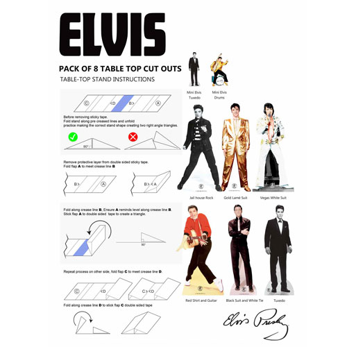 Elvis Presley Table Top Cutout Decorations - Pack of 8 Product Gallery Image