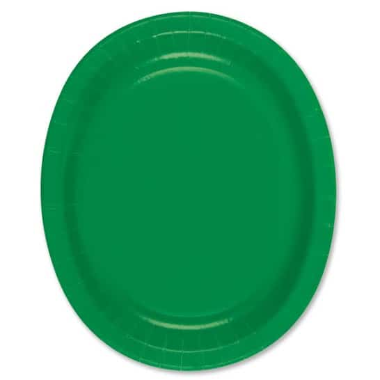 Emerald Green Oval Paper Plate - 30cm