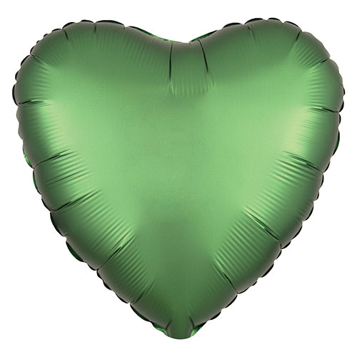 Emerald Green Satin Luxe Heart Shape Foil Helium Balloon 43cm / 17 in