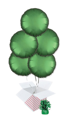 Emerald Green Satin Luxe Round Shape Foil Helium Balloon Bouquet - 5 Inflated Balloons In A Box Product Image