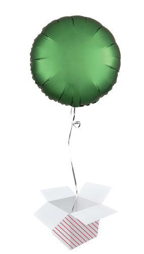 Emerald Green Satin Luxe Round Shape Foil Helium Balloon - Inflated Balloon in a Box