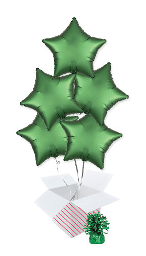 Emerald Green Satin Luxe Star Shape Foil Helium Balloon Bouquet - 5 Inflated Balloons In A Box Product Image