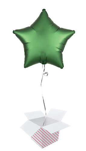 Emerald Green Satin Luxe Star Shape Foil Helium Balloon - Inflated Balloon in a Box Product Image