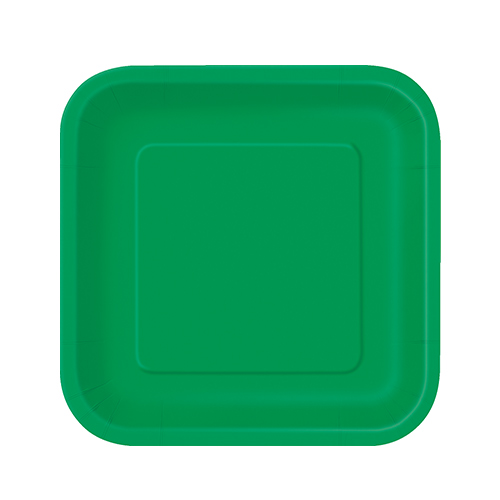 Emerald Green Square Paper Plates 17cm - Pack of 16
