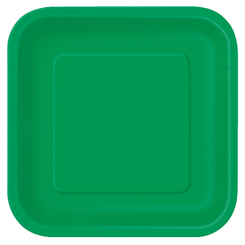 Emerald Green Square Paper Plates 22cm - Pack of 14