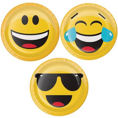 Emoji Assorted Designs Round Paper Plates 18cm - Pack of 8