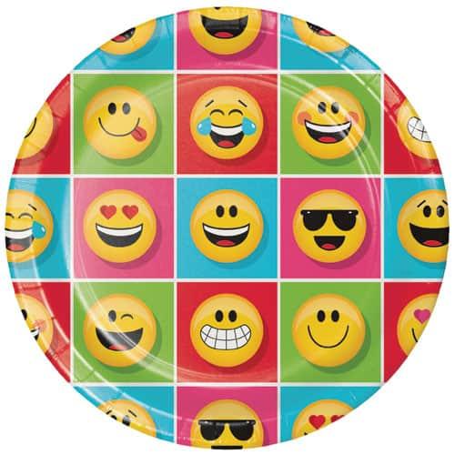 Emoji Designs Round Paper Plates 23cm - Pack of 8