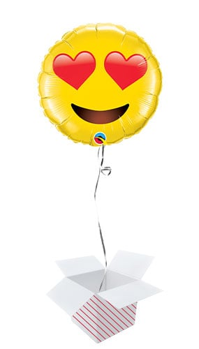 Emoji Heart Eyes Round Helium Foil Giant Qualatex Balloon - Inflated Balloon in a Box Product Image