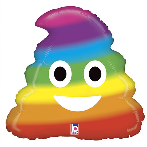 Emoji Rainbow Poo Helium Foil Balloon 51cm / 20 in Product Image