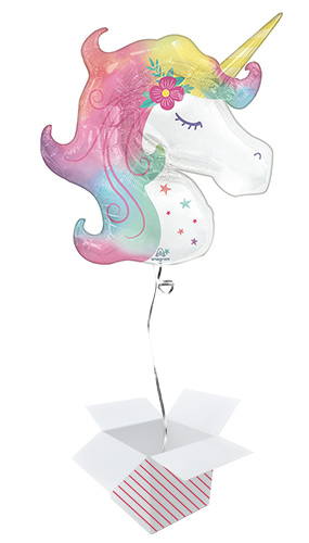 Enchanted Unicorn Helium Foil Giant Balloon - Inflated Balloon in a Box Product Image
