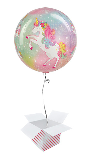 Enchanted Unicorn Orbz Foil Helium Balloon - Inflated Balloon in a Box Product Image