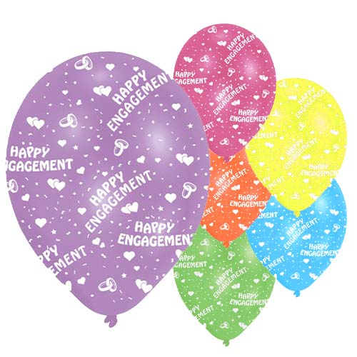Engagement Assorted Latex Balloons 28cm / 11 in - Pack of 6 Product Image
