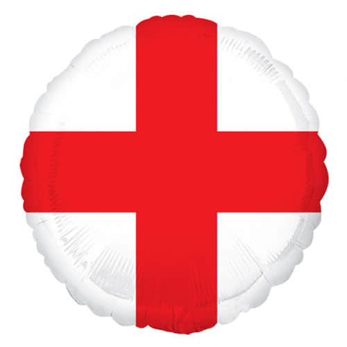 St George's Day England Flag Round Foil Helium Balloon 43cm / 17Inch