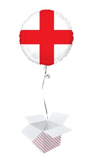 St George's Day England Flag Round Foil Helium Balloon - Inflated Balloon in a Box