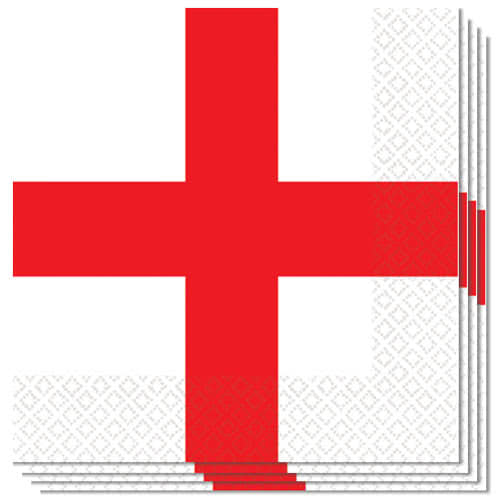 England St Georges Day Luncheon Napkins 33cm 3Ply - Pack of 16