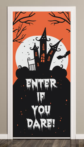 Enter If You Dare Haunted House Halloween Door Cover PVC Party Sign Decoration 66cm x 152cm Product Image