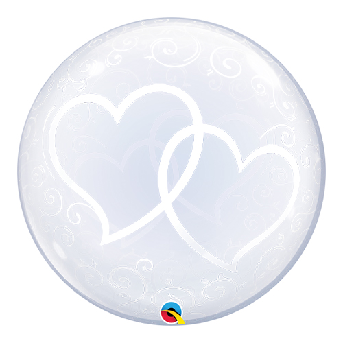 Entwined Hearts Deco Bubble Helium Qualatex Balloon 61cm / 24Inch Product Image