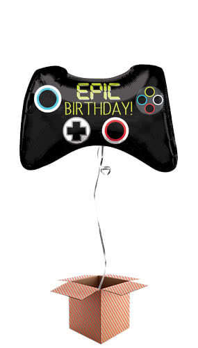 Epic Party Game Controller Helium Foil Giant Balloon - Inflated Balloon in a Box