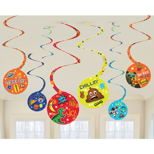 Epic Party Hanging Swirl Decorations - Pack of 8