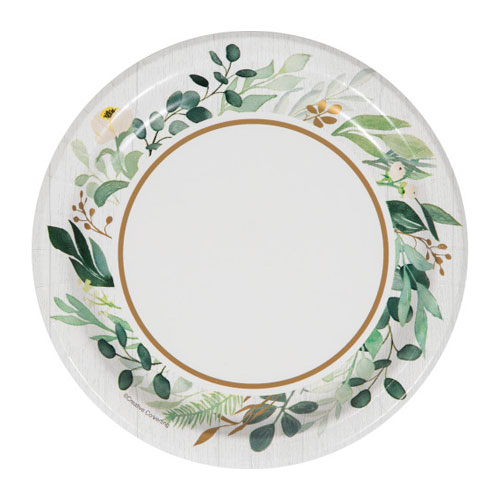 Eucalyptus Green Round Paper Plates 17cm - Pack of 8 Product Image