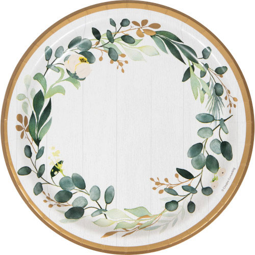 Eucalyptus Green Round Paper Plates 22cm - Pack of 8 Bundle Product Image