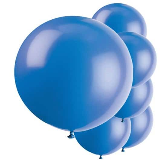Evening Blue Jumbo Biodegradable Latex Balloons - 91cm - Pack of 6 Product Image
