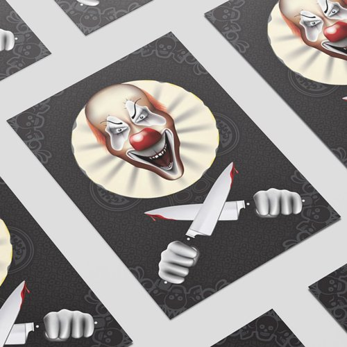 Evil Laughing Clown Halloween A3 Poster PVC Party Sign Decoration 42cm x 30cm Product Image